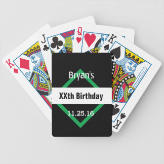 Any Year Birthday Manly  Black and Green B01 Bicycle Playing Cards