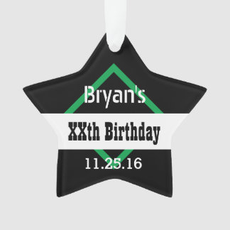 Any Year Birthday Manly  Black and Green B01 Ornament