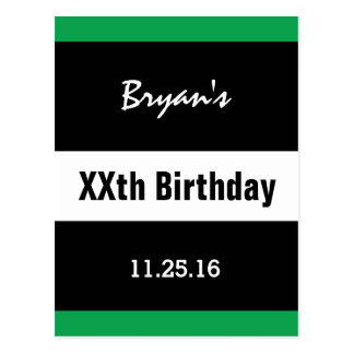Any Year Birthday Manly  Black and Green B01 Postcard