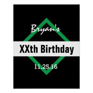 Any Year Birthday Manly  Black and Green B01 Poster