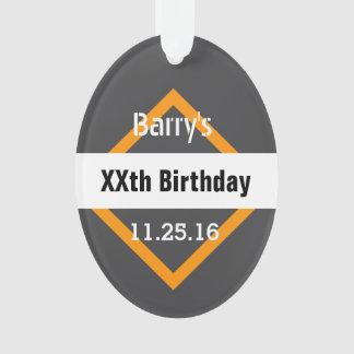 Any Year Birthday Manly Dark Gray and Orange B01 Ornament
