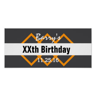 Any Year Birthday Manly Dark Gray and Orange B01 Poster