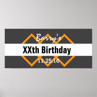 Any Year Birthday Manly Dark Gray and Orange B01 Poster
