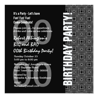 "Any Year Birthday Modern Black White Pattern W74A 5.25"" Square Invitation Card"