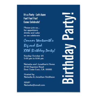 Any Year Birthday Modern Navy Blue White V101A 4.5x6.25 Paper Invitation Card