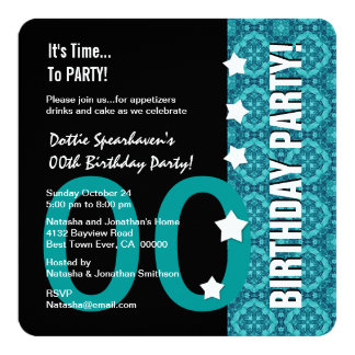 Any Year Birthday Modern Teal Funny D05 Card