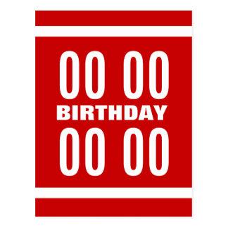 Any Year Birthday Modern Text Design Red White Z11 Postcard