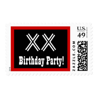 Any Year Birthday Party Big Bold Black White Red 3 Postage