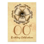 Any Year Birthday Party Invitation Gold Flower Bow
