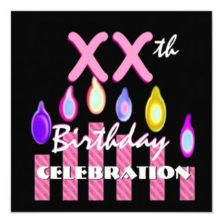 Any Year Birthday Party Pink Striped Candles A01 5.25x5.25 Square Paper Invitation Card