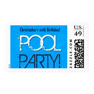 ANY YEAR Birthday Pool Party Blue White A02 Stamp