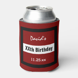 Any Year Birthday Red with Black  Frame Custom Z02 Can Cooler