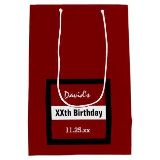 Any Year Birthday Red with Black  Frame Custom Z02 Medium Gift Bag