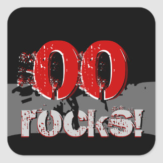 Any Year Birthday - Rocks Grunge Red and Black Stickers