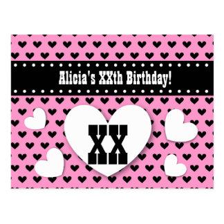 ANY YEAR Birthday Save Date Birthday A15 Pink Postcard
