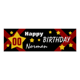 ANY YEAR Birthday Star Banner Black Gold Red V03A Poster