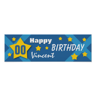 ANY YEAR Birthday Star Banner Blue and Gold V03C Posters