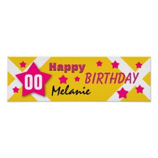 ANY YEAR Birthday Star Banner GOLD and PINK V03 Posters