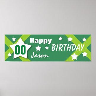 ANY YEAR Birthday Star Banner Green V03G Print