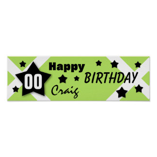 ANY YEAR Birthday Star Banner LIME and BLACK V08 Posters