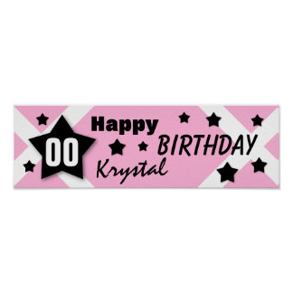 ANY YEAR Birthday Star Banner PINK and BLACK V10 Poster