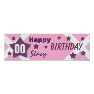 ANY YEAR Birthday Star Banner PINK and PURPLE V11 Poster