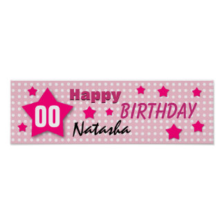 ANY YEAR Birthday Star Banner PINK POLKA DOTS V01 Print
