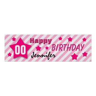 ANY YEAR Birthday Star Banner PINK STRIPES STARS 3 Poster