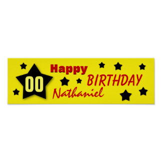 ANY YEAR Birthday Star Banner YELLOW and BLACK V07 Posters