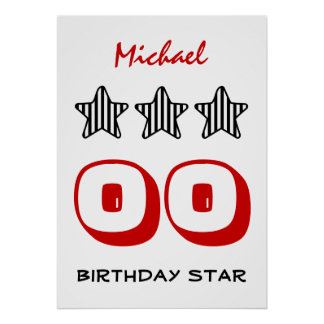 ANY Year Birthday Star Black White Striped Z501 Poster