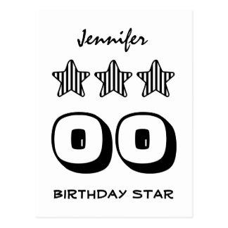 ANY Year Birthday Star Black White Striped Z502 Postcard
