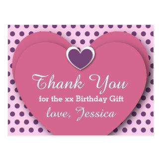 ANY YEAR Birthday Thank You Hearts Dots B04 PURPLE Postcard