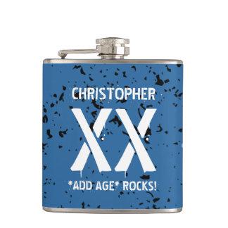 Any Year Birthday Trendy BLUE Grunge Pattern A08Z Flask