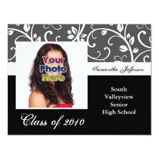 Any Year~ Black and White Vines Photo Graduation Card