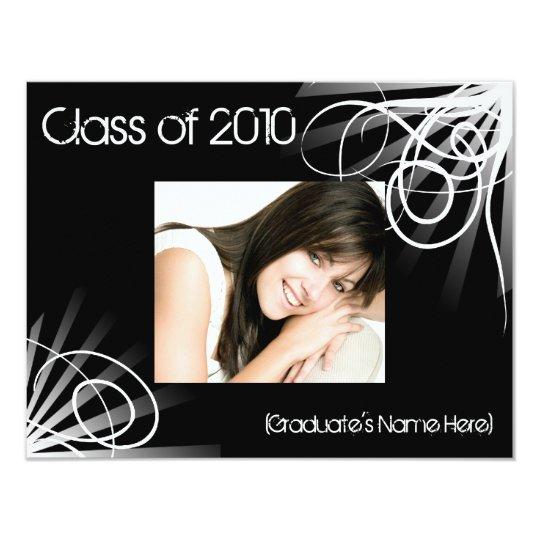 Any Year~Black Swirl Photo Graduation Announcement