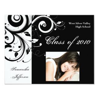 Any Year~ Black/White Swirl Photo Graduation Card