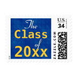 Any Year Class of Modern Graduation BLUE Postage Stamps