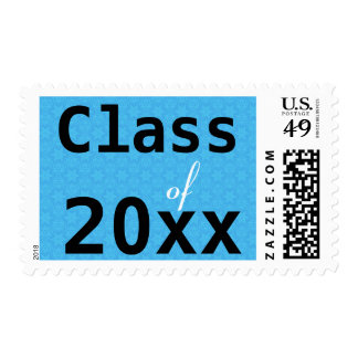 Any Year Class of Modern Graduation BLUE Stamps