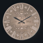 "Any Year Copper Look Wedding Anniversary Large Clock<br><div class=""desc"">Customize this beautiful anniversary gift plate. Personalize it to make it the perfect gift for an anniversary. Designed to look like copper. Artwork by Amelia Carrie</div>"