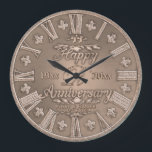 """Any Year Copper Look Wedding Anniversary Large Clock<br><div class=""""desc"""">Customize this beautiful anniversary gift plate. Personalize it to make it the perfect gift for an anniversary. Designed to look like copper. Artwork by Amelia Carrie</div>"""