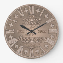 Any Year Copper Look Wedding Anniversary Large Clock