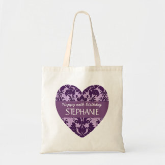 Any Year Damask Birthday For Her Purple A01 Budget Tote Bag