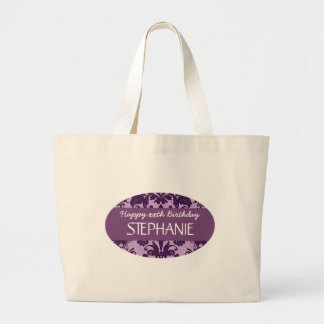 Any Year Damask Birthday For Her Purple A01 Jumbo Tote Bag