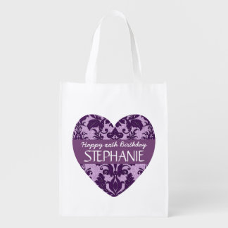 Any Year Damask Birthday For Her Purple A01 Reusable Grocery Bag
