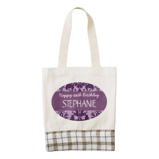 Any Year Damask Birthday For Her Purple A01 Zazzle HEART Tote Bag