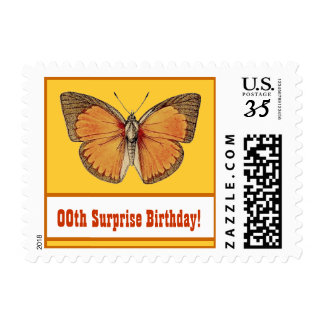 Any Year GOLD BUTTERFLY Surprise Birthday Party V5 Postage
