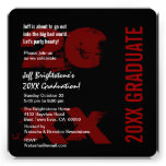 Any Year Graduation Party Modern Grunge Black Red Announcements