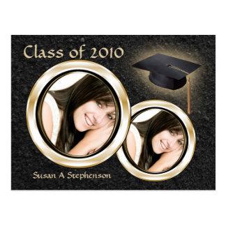 Any Year~ Graduation Postcard, Black/Gold Photo Postcard
