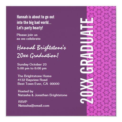 Any Year Graduation Purple and Pink Stars Invitation