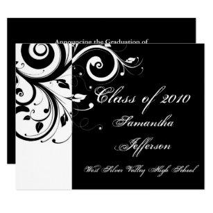 Girls black white graduation party invitations announcements zazzle any year luxury blackwhite swirl graduation invitation filmwisefo